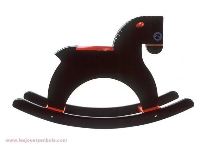 Cheval À bascule laqué noir