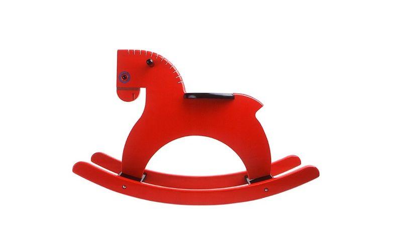 Cheval À bascule laqué rouge