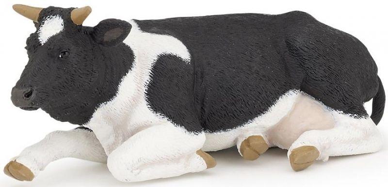 Vache Couchée noire et blanche