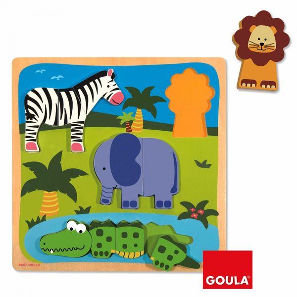 Puzzle Encastrement zèbre, éléphant ...
