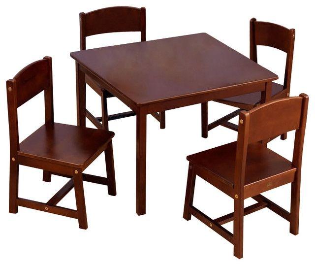 Table de ferme & chaises, brun