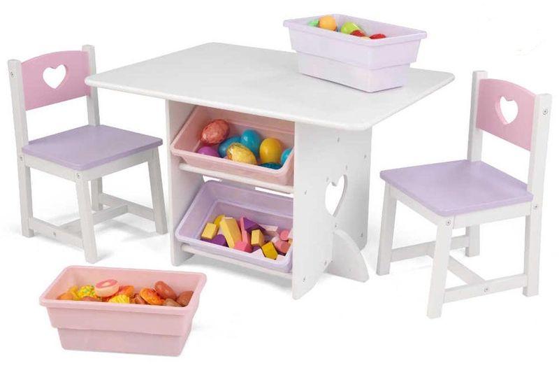 Table, Chaises et rangements - pastel