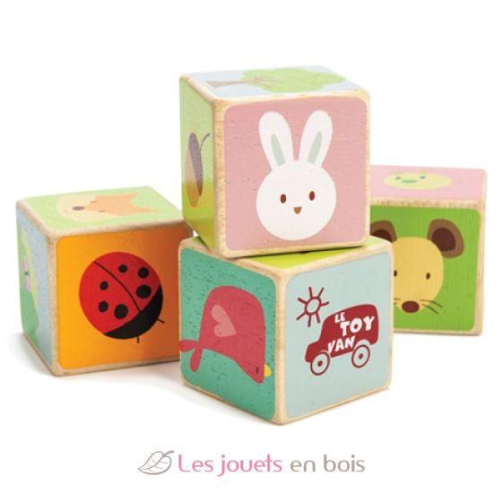 4 cubes en bois peints sur le th me de la for t ces cubes en bois le toy van pl007. Black Bedroom Furniture Sets. Home Design Ideas