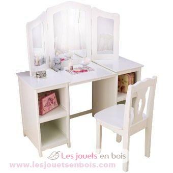 coiffeuse et chaise de luxe kidkraft du mobilier en bois blanc pour petites filles. Black Bedroom Furniture Sets. Home Design Ideas