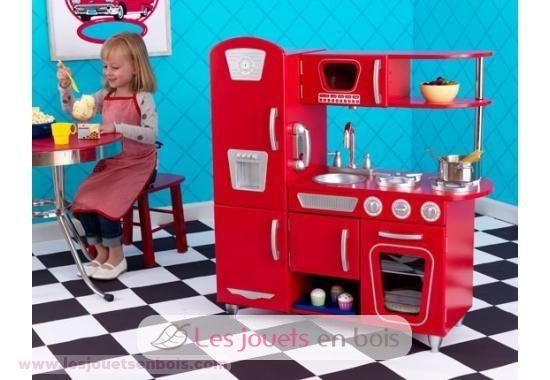 Kidkraft cuisine retro rouge en bois pour petite fille et for Cuisine rouge kidkraft