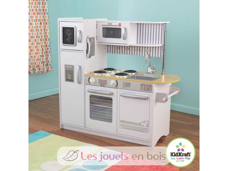 Kidkraft, Cuisine Uptown blanche 53335 en bois pour petite  ~ Cuisine En Bois Pour Petite Fille