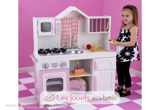 kidkraft cuisine la campagne blanc et rose en bois pour petite fille kidkraft 53222. Black Bedroom Furniture Sets. Home Design Ideas