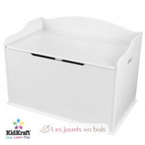 coffre jouets en bois kidkraft 14951 malle de rangement blanc couvercle arrondi. Black Bedroom Furniture Sets. Home Design Ideas