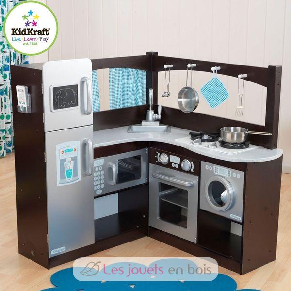 cuisine d 39 angle expresso et argent kidkraft 53302 une cuisine en bois pour enfants. Black Bedroom Furniture Sets. Home Design Ideas