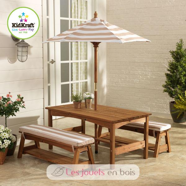 table et banc de jardin avec coussins et parasol pour enfant kidkraft 00500. Black Bedroom Furniture Sets. Home Design Ideas