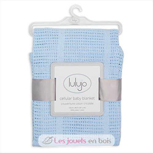 Couverture tricot e en coton bleu 100 x 80 cm de la - Couverture en coton ...