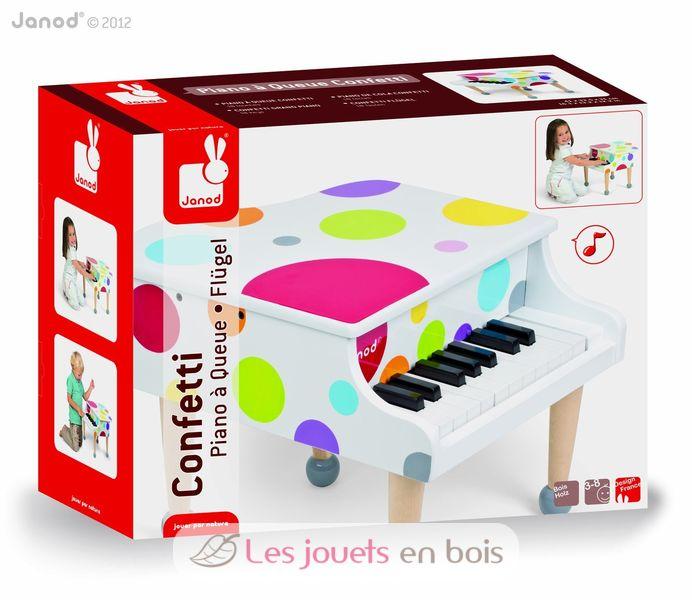 piano confetti janod en bois piano blanc enfant en bois avec ses partitions. Black Bedroom Furniture Sets. Home Design Ideas