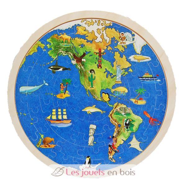 puzzle globe terrestre goki 57666 un puzzle du monde en bois avec double face. Black Bedroom Furniture Sets. Home Design Ideas
