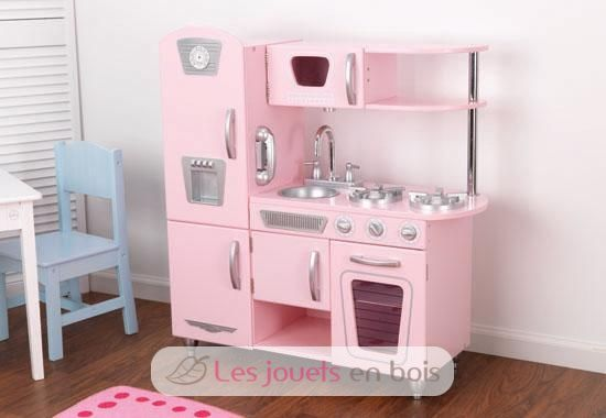 kidkraft cuisine et refrigerateur vintage rose en bois. Black Bedroom Furniture Sets. Home Design Ideas