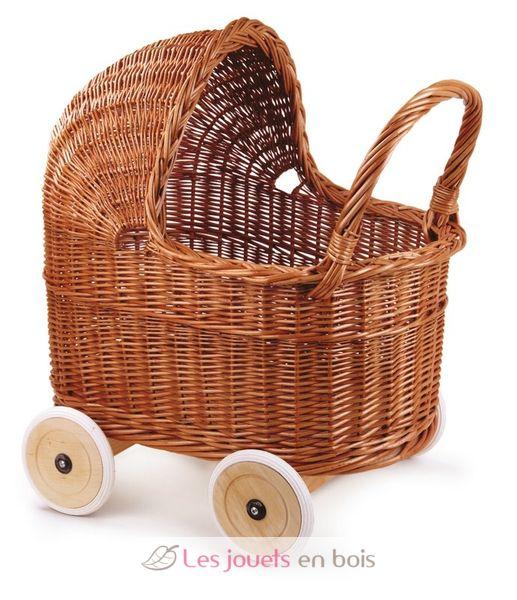 landau en osier avec roues en caoutchouc pour poup e egmont un landau en osier pour jouer. Black Bedroom Furniture Sets. Home Design Ideas