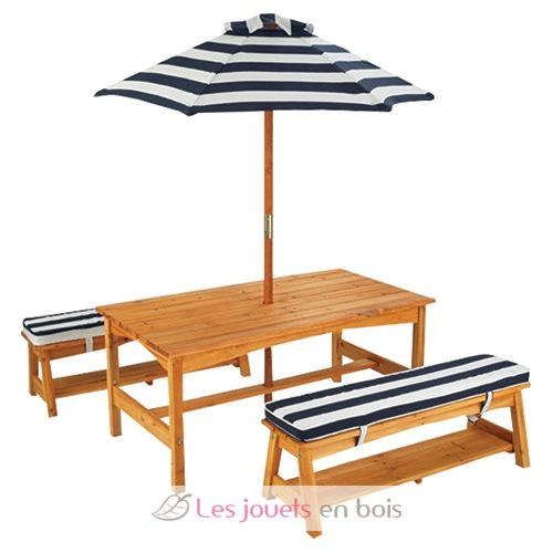 ensemble table et banc de jardin avec coussins et parasol pour enfant kidkraft 00106. Black Bedroom Furniture Sets. Home Design Ideas